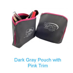 Custom Logo Dark Gray Pouch with Pink Trim
