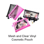 Custom Printed Mesh and Clear Vinyl Cosmetic Pouch