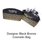 Custom Logo Designer Black Bronze Cosmetic Bag