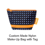 Custom Made Nylon Make-Up Bag with Tag