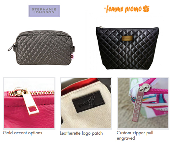 Custom manufactured wholesale cosmetic bags