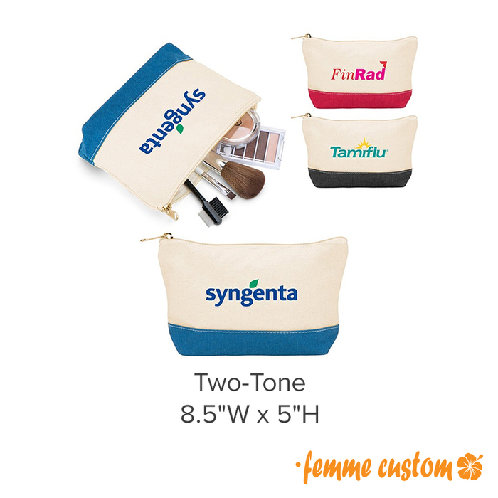 Personalized promotional canvas make-up pouches