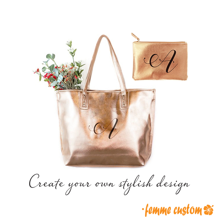 metallic tote bag and cosmetic bag rose gold silver