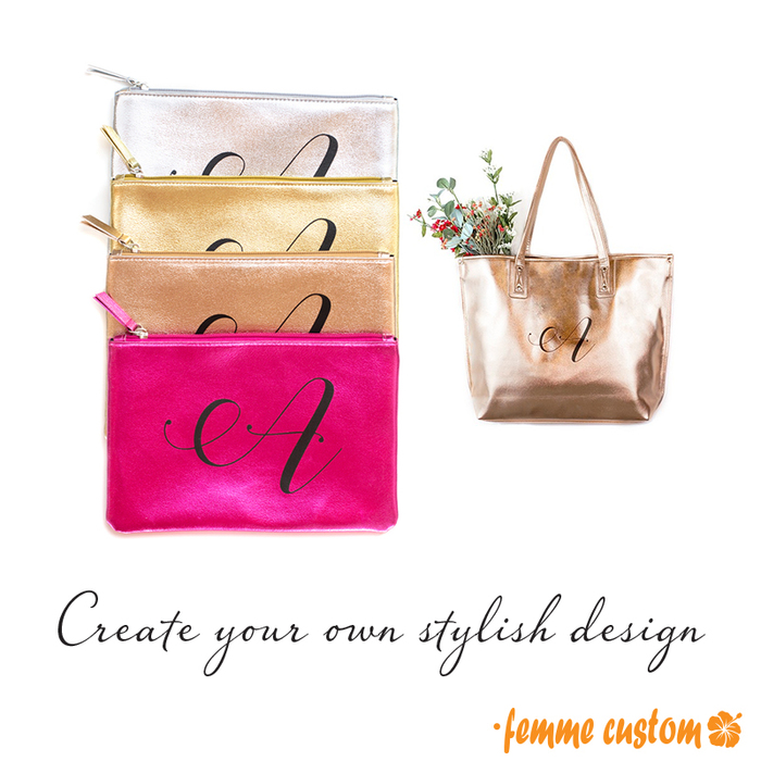 metallic tote bags cosmetic gold rose gold silver fuschia shiny