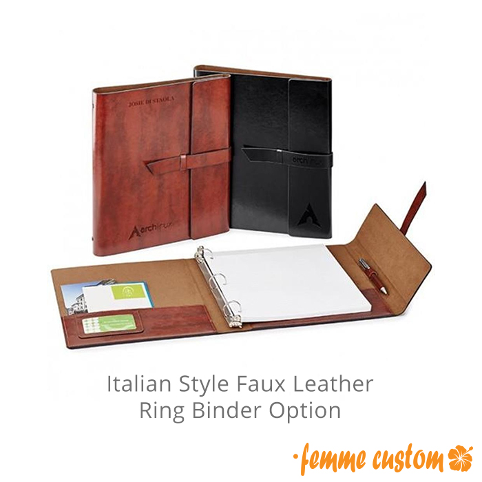 Promotional Faux Leather High-End 3 Ring Binder Portfolio