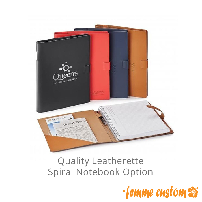High-End Quality Faux Leather Spiral Notebook Padfolio