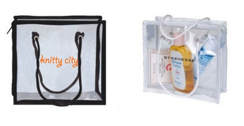 Clear Vinyl Zippered Pouch With Rope Handles 10x9x3