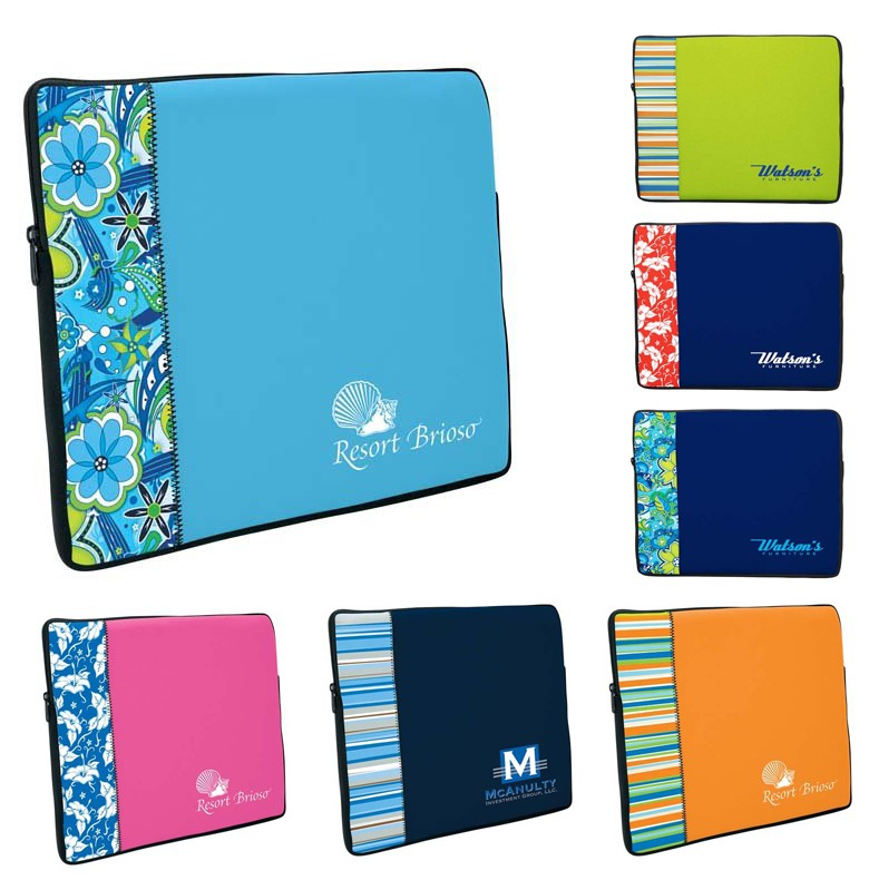 Two Tone Neoprene Laptop Sleeve With Pattern Accent Medium
