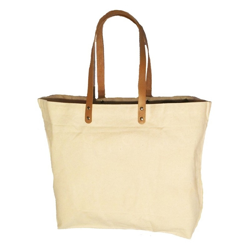 Resort Canvas Tote Bag with Leather Straps c82dbeb32a3d