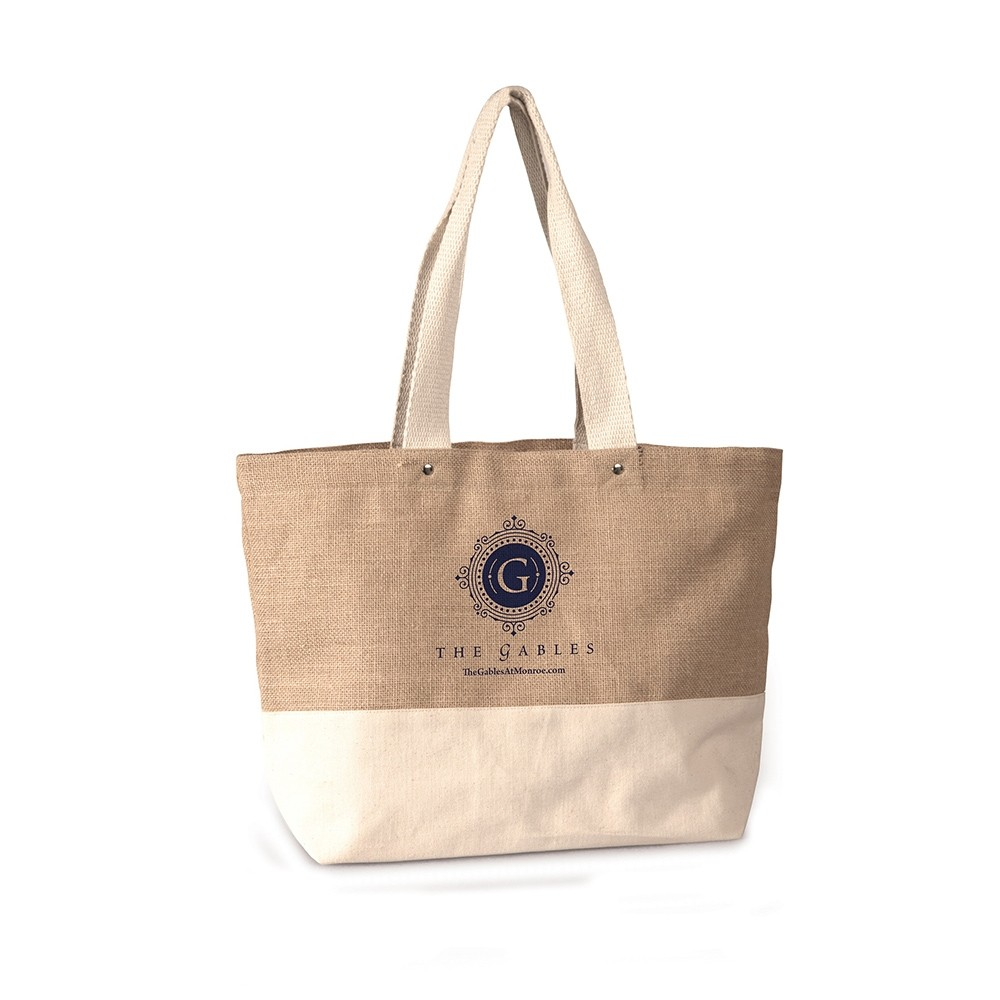 Canvas And Jute Two Tone Designer Beach Bag Promotional
