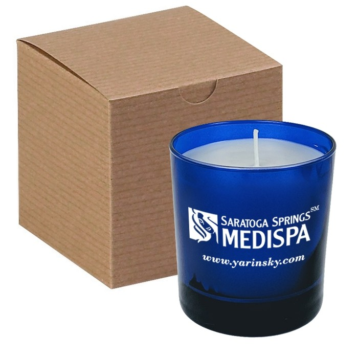 11 Oz Blue Glass Candle in Gift Box - PMOD II (PREMIUM MODERN II)