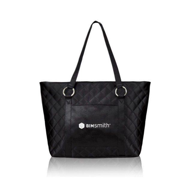 Metallic or Black Shiny Satin Quality Quilted Tote