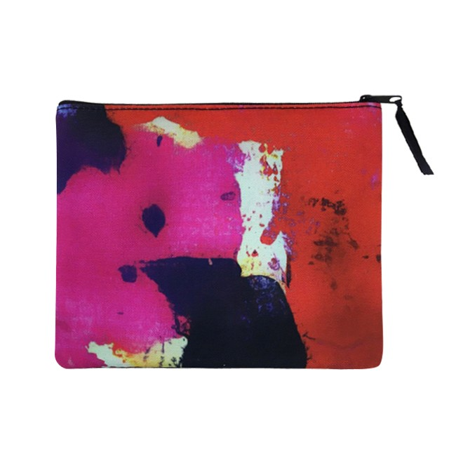 Full Color Sublimated Cosmetic Bag Flat Pouch with Ribbon Zipper