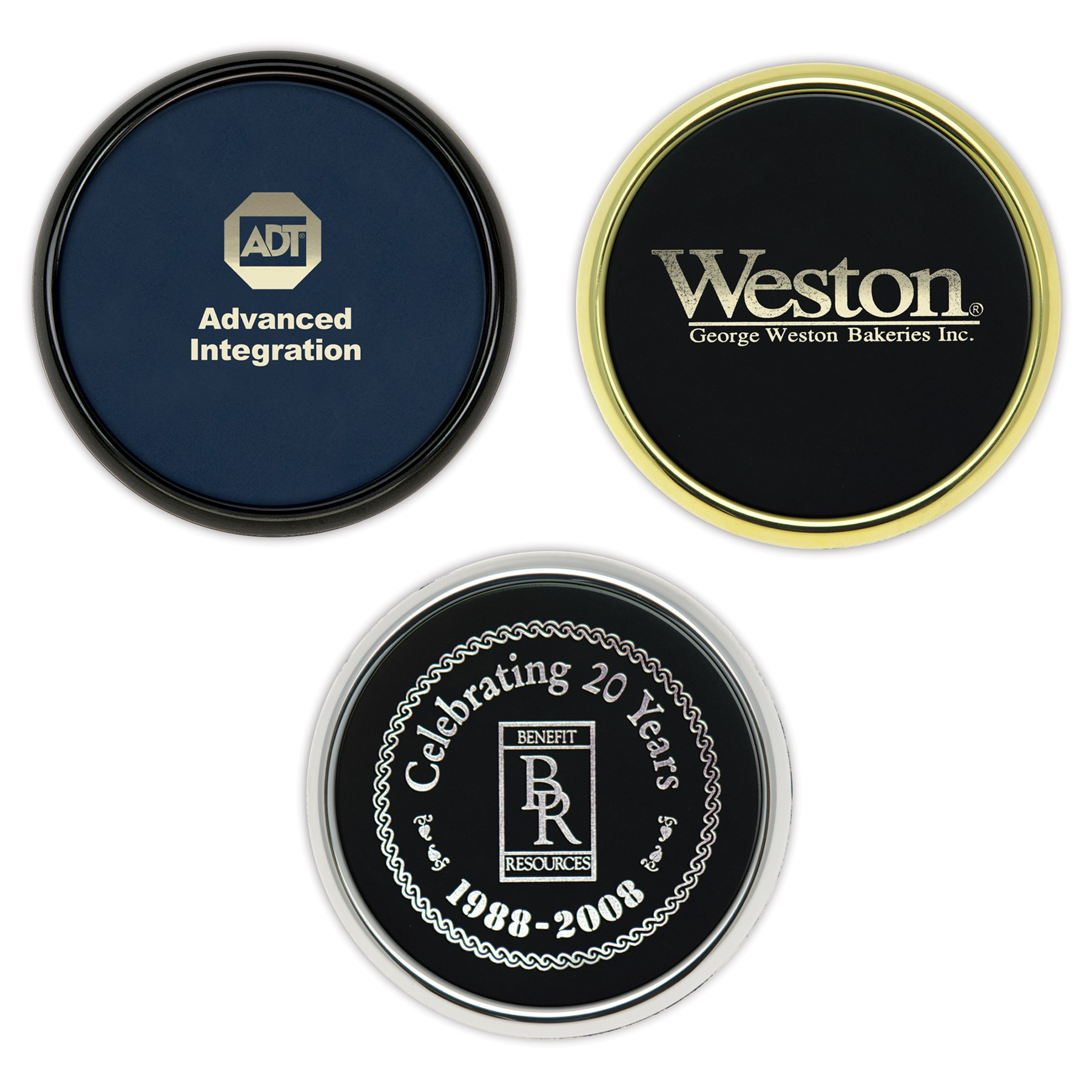 Custom Round Coaster with Color Hot Stamp or Deboss