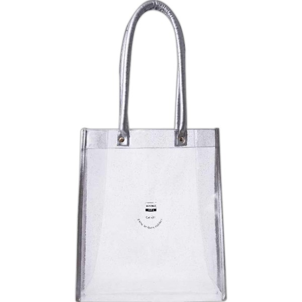 Glitz and Glam Clear and Silver Glittered Tote Bag