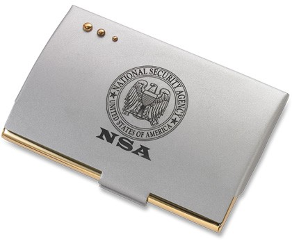 Aggio Silver Card Case with Gold Accents