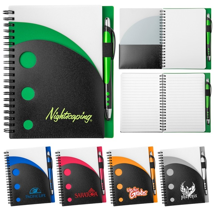Colorful Dots Pocket Curvature Notebook with Gel Pen