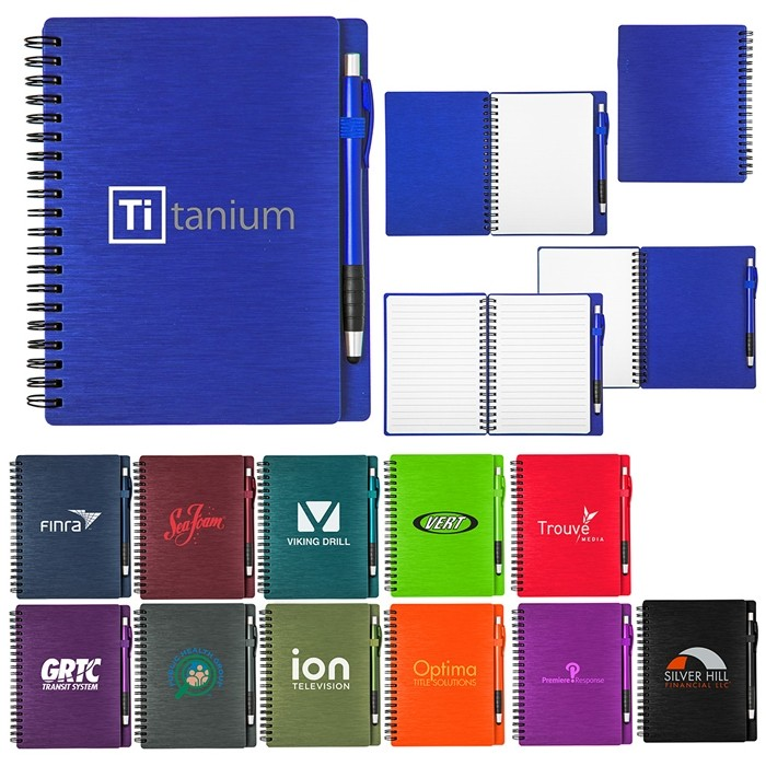 Colorful Metallic Notebook Set with Stylus Pen 5.75x7