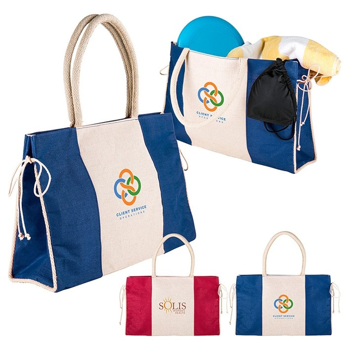 Color Block Cotton and Jute Fashion Beach Tote Bag