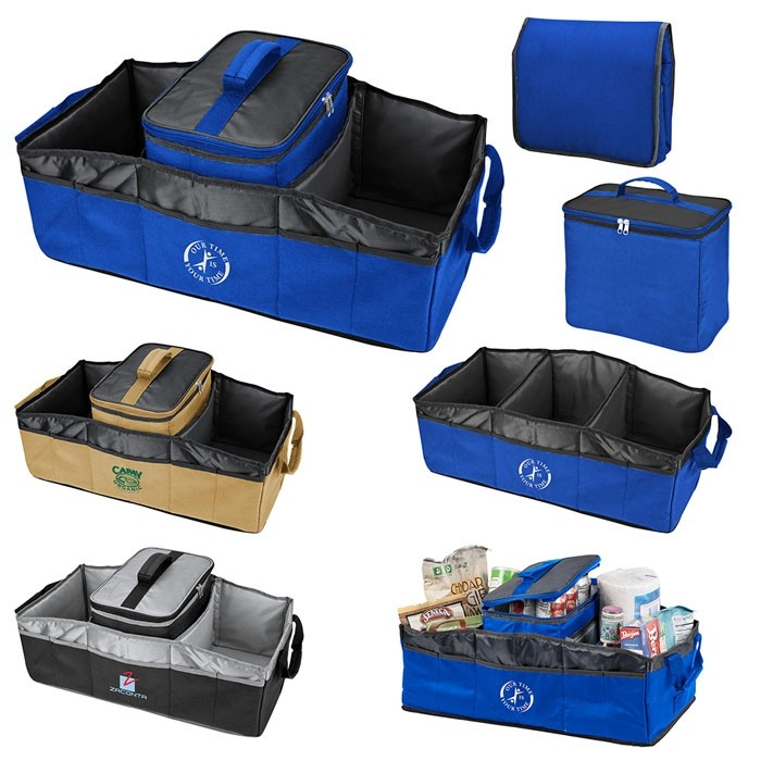 Collapsible 3 Compartment Trunk Organizer with Cooler