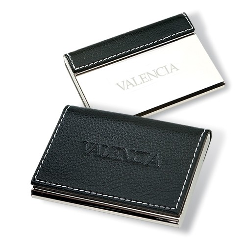 Polished Silver and Leatherette Card Holder