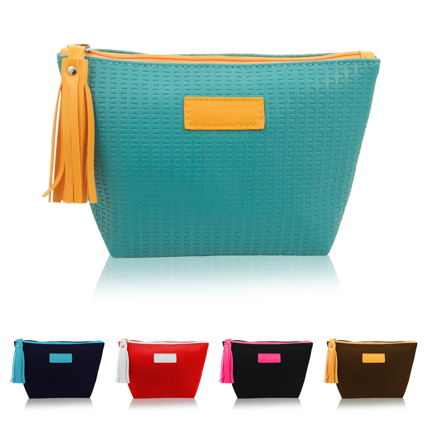 Designer Textured Leatherette Cosmetic Bag with Tassel Puller