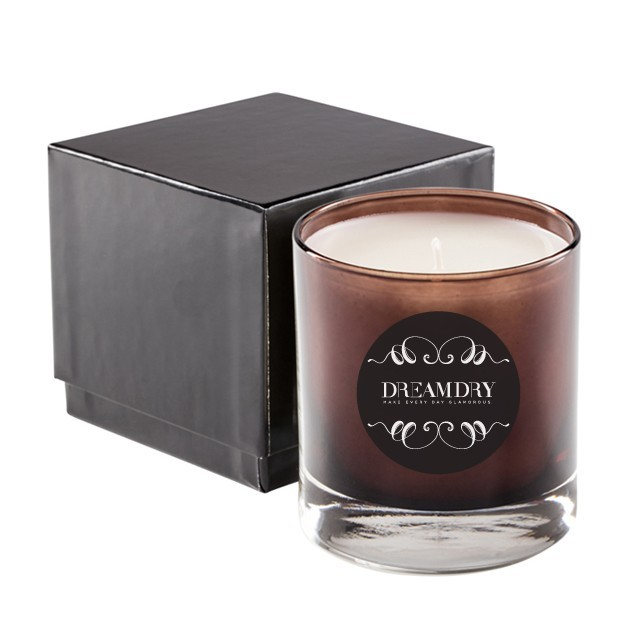Premium High End 11Oz Brown Glass Candle in 2 Pc Gift Box - PHE