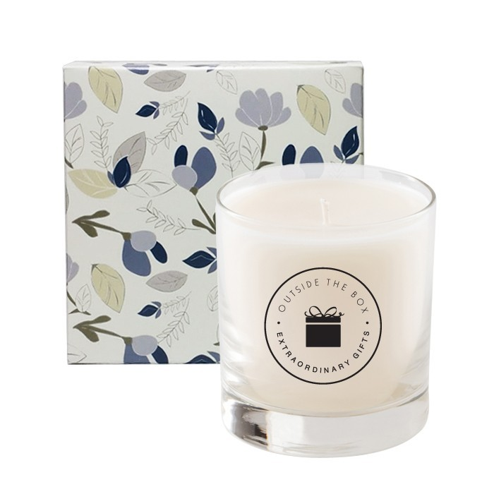 Custom Designer Modern Floral Box with 11 Oz Premium Candle