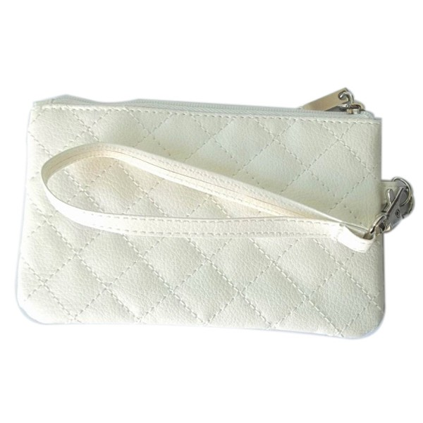 Quilted Leatherette Wristlet Purse