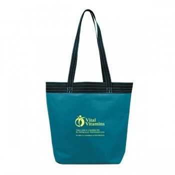 Accented Stitched Panel PolyCanvas Two-Tone Tote Bag