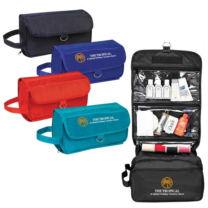 Nylon Folding Travel Case with Clear Compartments and Ring Hanger