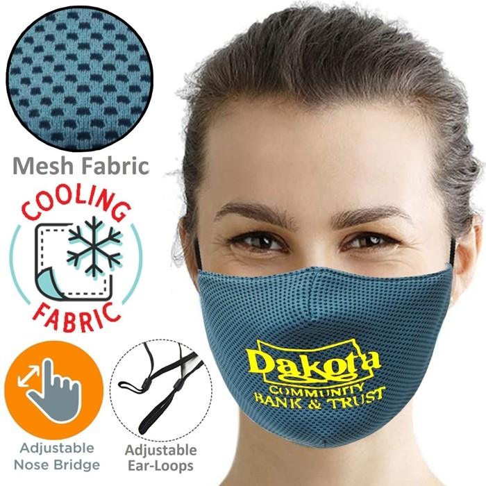 Full Color CMYK Cooling Adjustable Band Face Mask with 3-Ply and Filter Pocket
