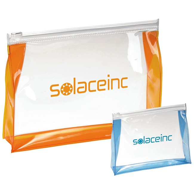 Clearly Transparent PVC Plastic Zippered Amenities Pouch