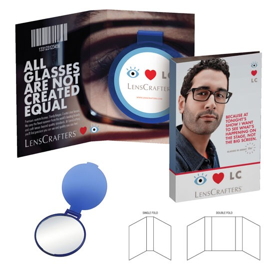 Promotional Booklet Mirror Gift, Round Shape