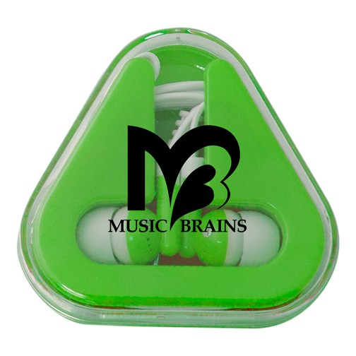 Triangle Earbuds Color Play Case with Full Color or Screen Print Logo