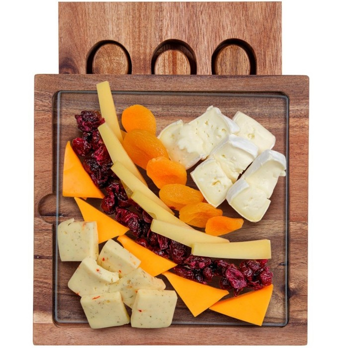 Glass and Acacia Wooden Cheese Board 5 Piece Set