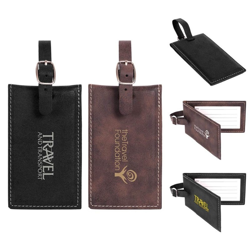 Leatherette Metallic Inner Layer Luggage Tag