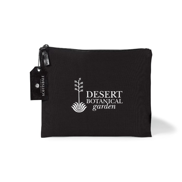 8 Oz Canvas Flat Pouch with Zipper Puller in Large