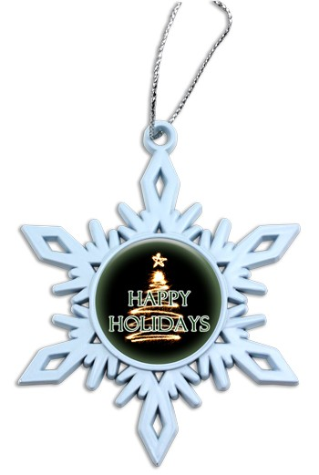 Premium Holiday Die Cast Snowflake Ornament Full Color