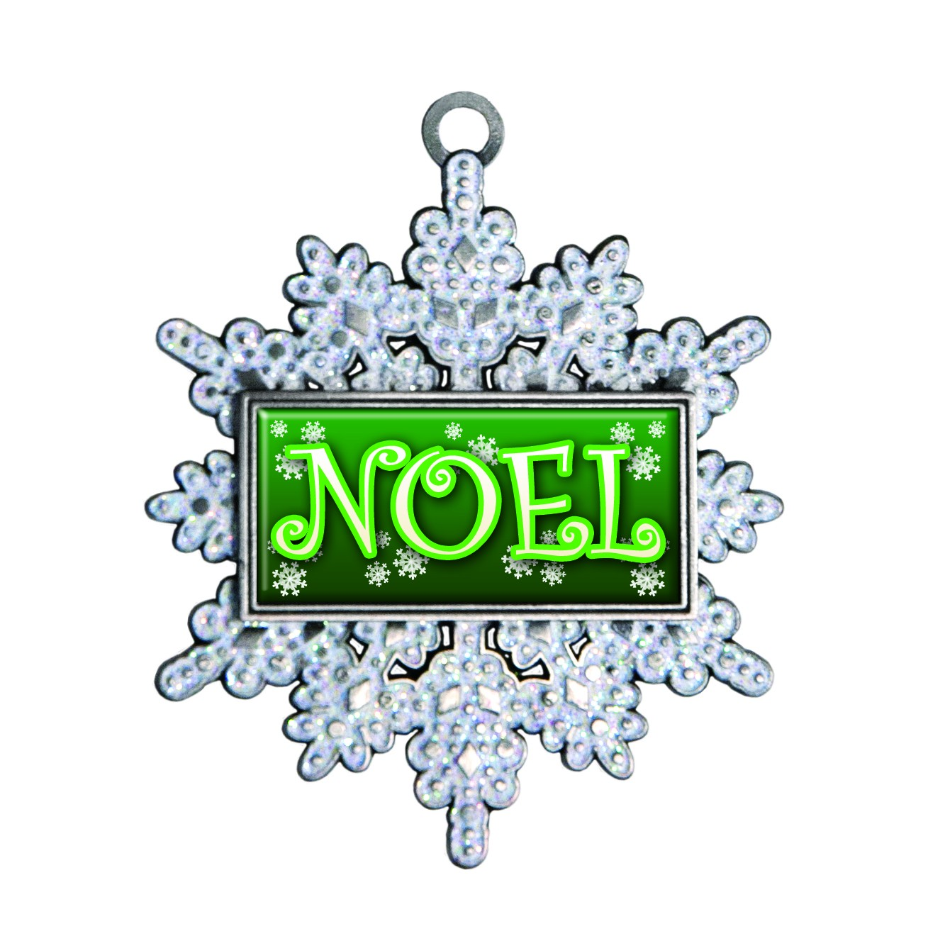 Premium Glitter Snowflake Ornament Full Color