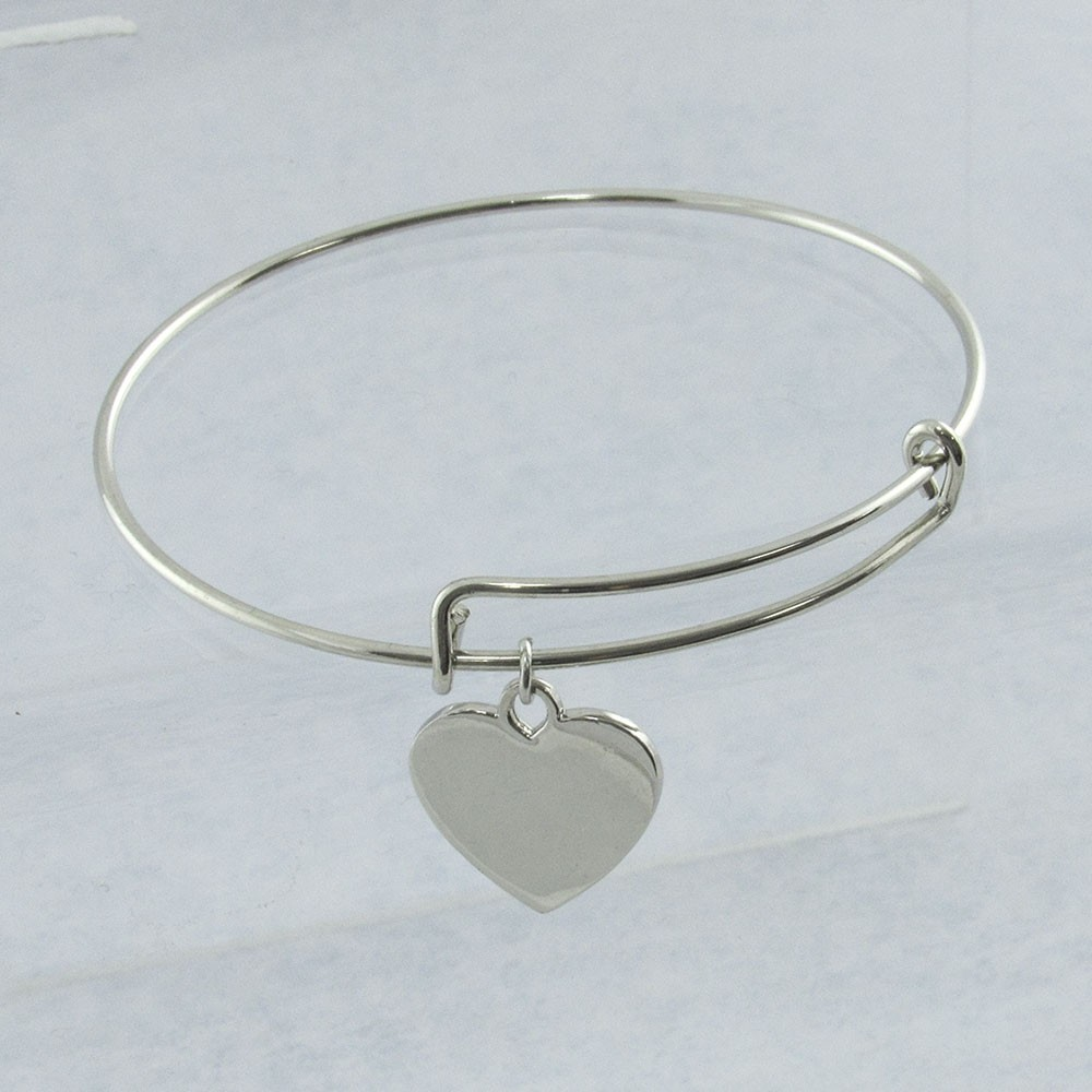 Modern Adjustable Silver Bracelet with Charm