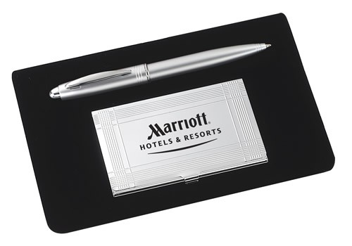 Professional Silver Card Case and Pen Gift Set