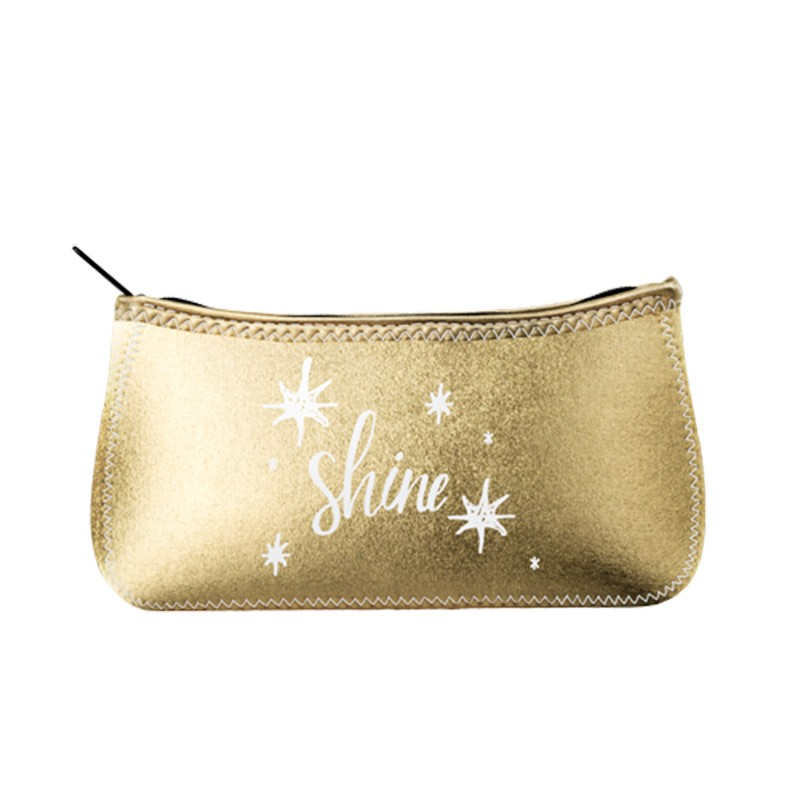 Metallic Chrome Neoprene Zippered Cosmetic Bag