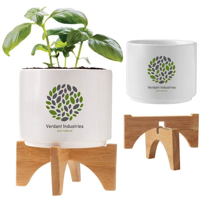 Desktop Tabletop Planter in Ceramic and Bamboo Stand