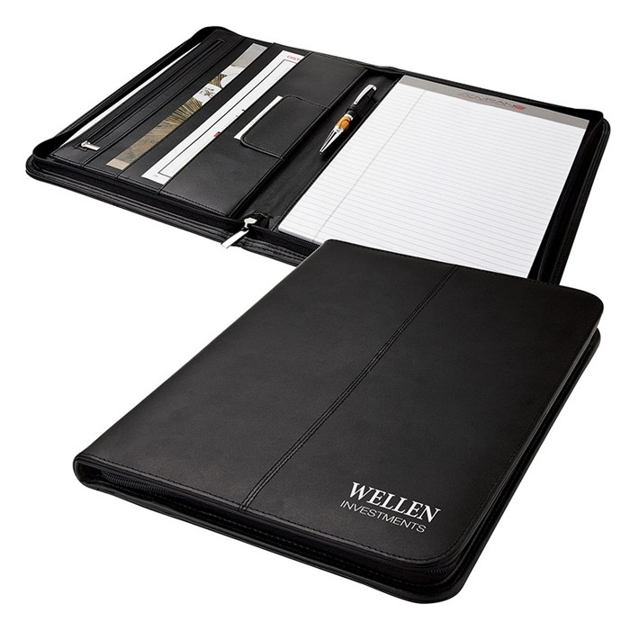 Zippered Portfolio in Simple Black Bonded Leather