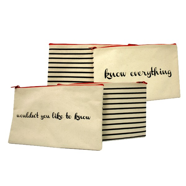 Custom Made Cotton Canvas Stripes Cosmetic Bag