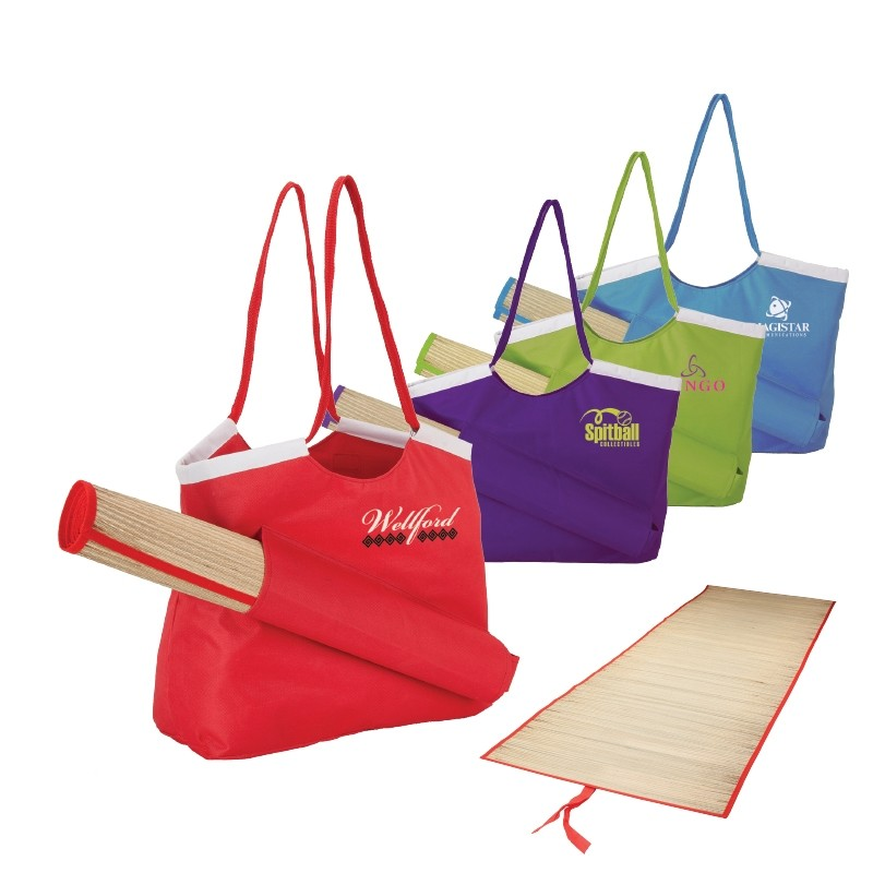 PolyCanvas Colorful Tote with Beach Mat