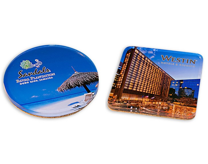 Full Color Imprinted Acrylic Coasters Cork Back
