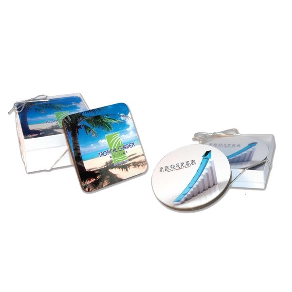 Set of 2 Full Color Wooden Coasters Gift Set