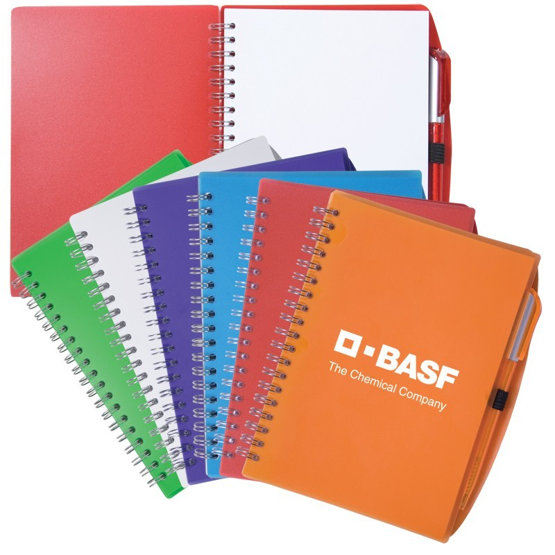 5x7 Color Blast Spiral Notebook with Matching Pen